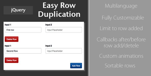 easy Row Duplication - jQuery Plugin