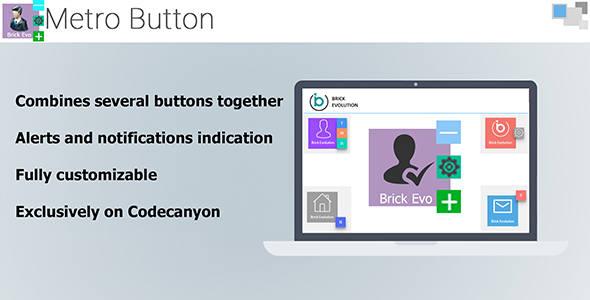 Metro Button with Interactive Notification Indication and Sub-Buttons