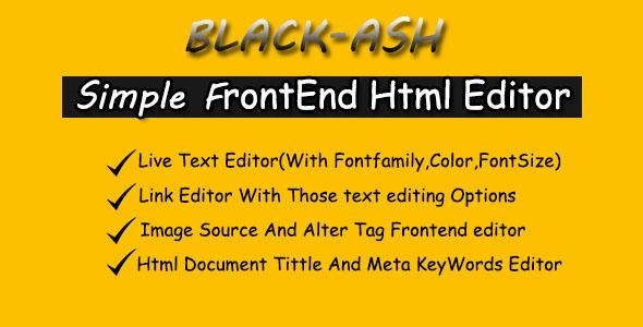 BLACK-ASH - JavaScript Front-end HTML Editor