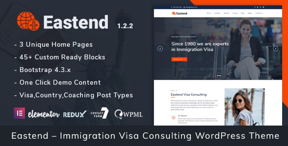 Eastend – Immigration Visa Consulting WordPress Theme