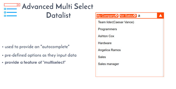 Advanced Multi Select Data List - Multiselect Drop-down with Autocomplete