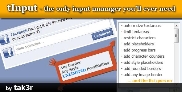 Input and Textarea customizer - tInput