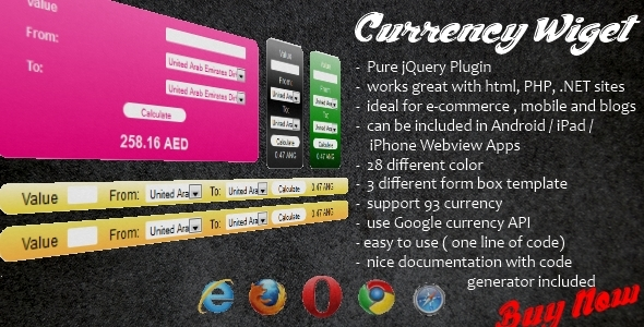 Currency Wiget - Nice Css - Work with Android