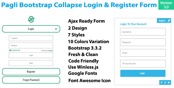 Pagli - Bootstrap Collapse Log in & Register Form