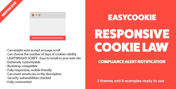 EasyCookie - GDPR Responsive Cookie Law Compliance Alert Notification