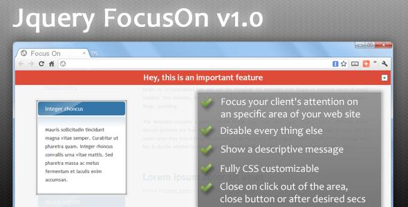 jQuery FocusOn - Highlight an area of your website