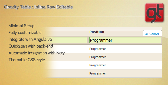 GTable : jQuery Inline Table Editing