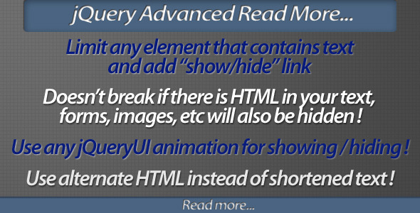jQuery Advanced Read More plugin