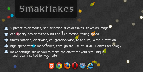 Smakflakes - various flakes jQuery plugin