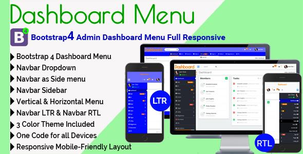 Dashboard Menu - Bootstrap4 Admin Dashboard Menu Full Responsive