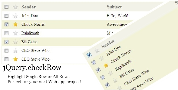 Gmail-style Highlight Table rows with jQuery