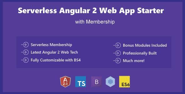 Serverless Angular 2 - Bootstrap 4 Web App Template Starter with Membership