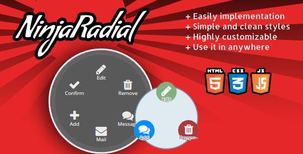 NinjaRadial - clean radial jquery menu