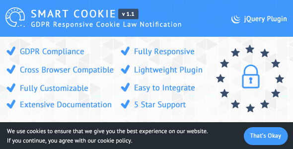 SmartCookie - GDPR Responsive Cookie Law Notification