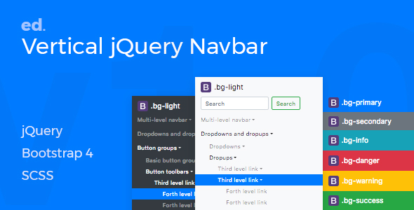 ed Navbar v1.0 -  Customisable Multi-Level Vertical jQuery Navbar for Bootstrap 4