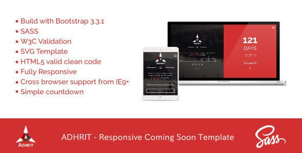 ADHRIT - Responsive Coming Soon Template