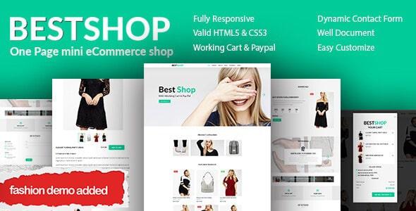 Bestshop - One Page Mini eCommerce Shop Templates