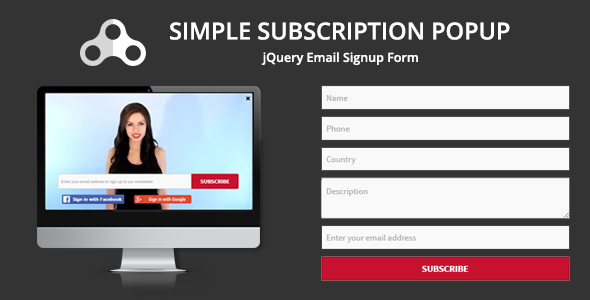 Simple Subscription Popup-jQuery Email Signup Form
