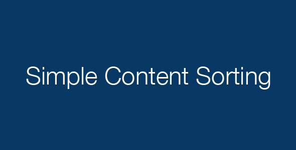 Simple Content Sorting