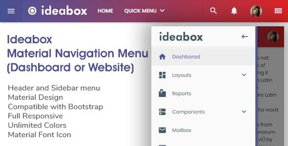 Ideabox - Material Navigation Menu - Dashboard or Website