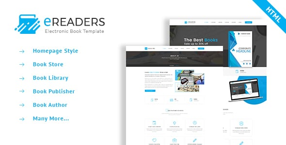 E Readers - Books Library eCommerce Store Html Template
