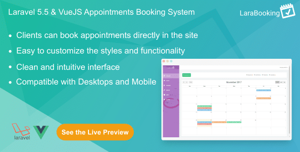 LaraBooking - Laravel Appointments Booking System